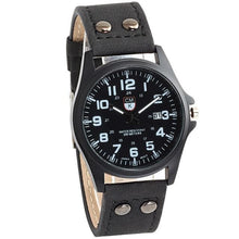 Load image into Gallery viewer, Buttoned Leather Slim Casual Mens Watch Black