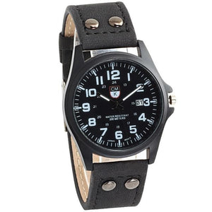Buttoned Leather Slim Casual Mens Watch Black