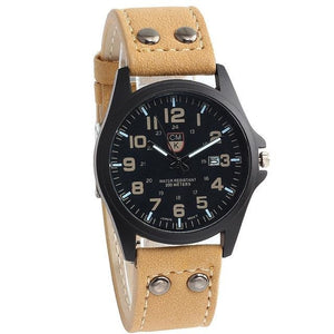 Buttoned Leather Slim Casual Mens Watch Brown