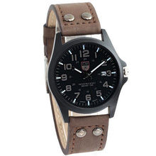 Load image into Gallery viewer, Buttoned Leather Slim Casual Mens Watch Coffee