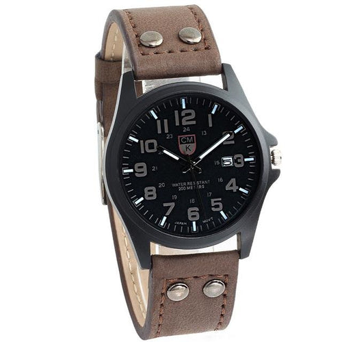 Buttoned Leather Slim Casual Mens Watch Coffee