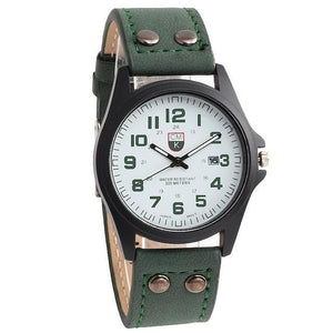 Buttoned Leather Slim Casual Mens Watch Green