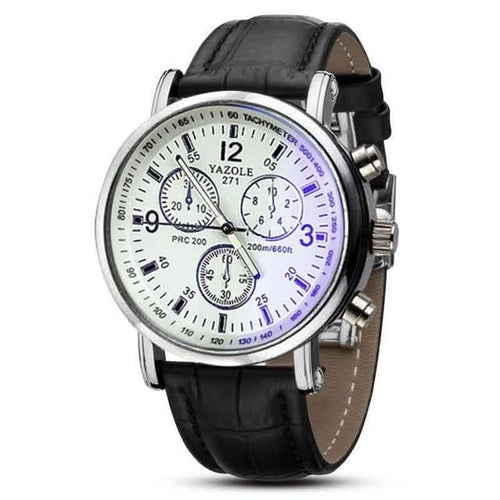 Casual Leather Mens Watch With Blue Glass Black And White