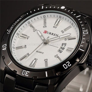 Casual Slim Stainless Steel Mens Watch Black And White