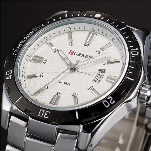 Casual Slim Stainless Steel Mens Watch Silver White