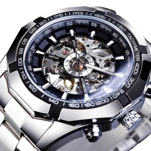 Deep Mechanism Steel Watch For Men Black Silver