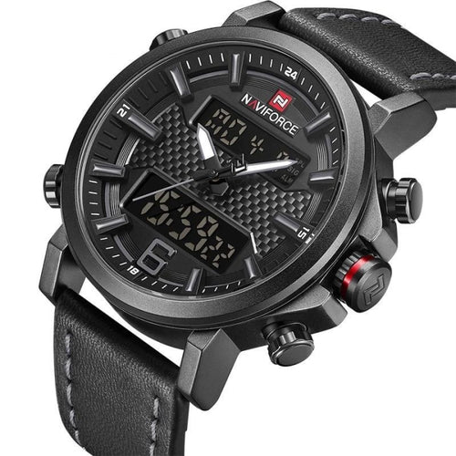 Dual-Clock Chronograph Leather Watch With Led Back-Light