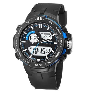 Dual-Clock Daytime Military Sports Chronograph Blue