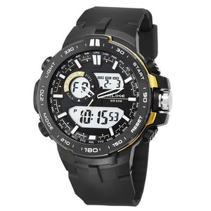 Dual-Clock Daytime Military Sports Chronograph Gold