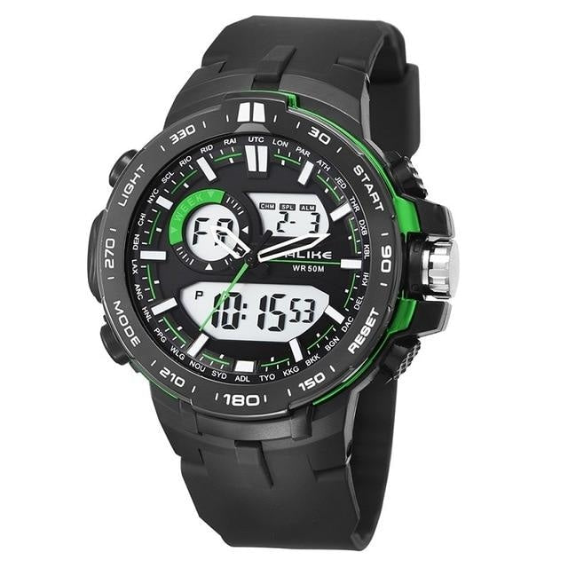 Dual-Clock Daytime Military Sports Chronograph Green