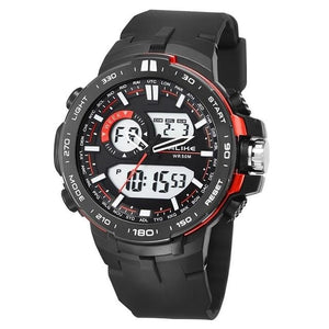 Dual-Clock Daytime Military Sports Chronograph Red