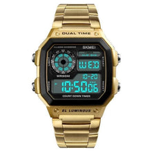 Load image into Gallery viewer, Dual-Clock Stainless Steel Numeric Watch For Men Gold