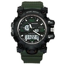 Load image into Gallery viewer, Dual-Clock Waterproof Military Chronograph Army Green