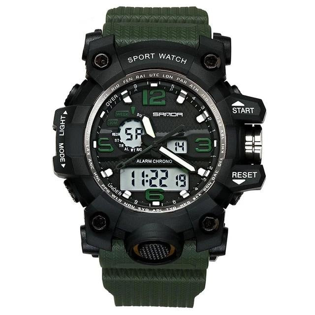 Dual-Clock Waterproof Military Chronograph Army Green
