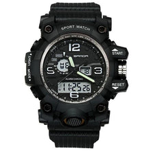 Load image into Gallery viewer, Dual-Clock Waterproof Military Chronograph Black