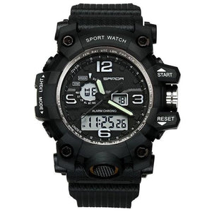 Dual-Clock Waterproof Military Chronograph Black