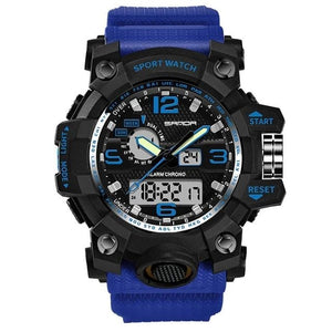 Dual-Clock Waterproof Military Chronograph Blue