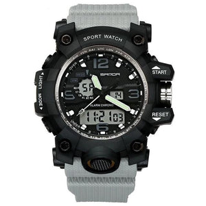 Dual-Clock Waterproof Military Chronograph Gray
