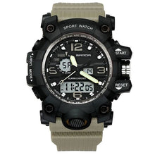 Load image into Gallery viewer, Dual-Clock Waterproof Military Chronograph Khaki