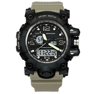 Dual-Clock Waterproof Military Chronograph Khaki