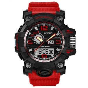 Dual-Clock Waterproof Military Chronograph Red