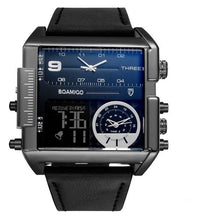Load image into Gallery viewer, Dual-Display Square Modern Sport Leather Watch Black