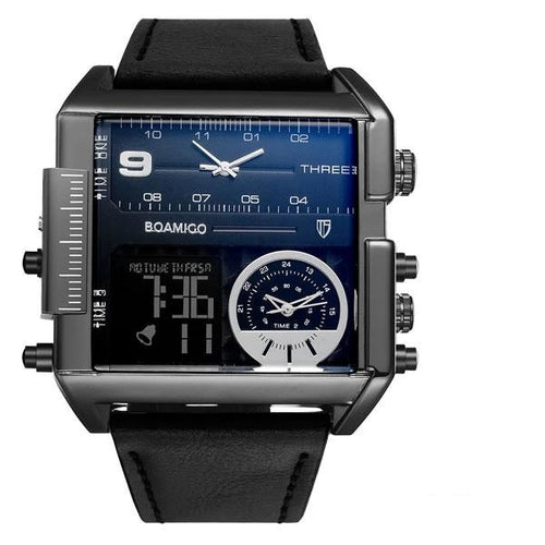 Dual-Display Square Modern Sport Leather Watch Black