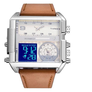 Dual-Display Square Modern Sport Leather Watch Brown White