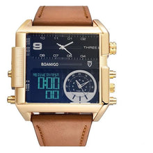 Load image into Gallery viewer, Dual-Display Square Modern Sport Leather Watch Gold Black