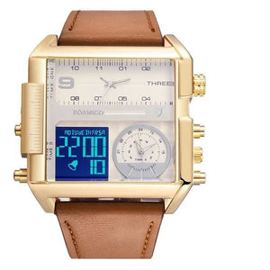 Dual-Display Square Modern Sport Leather Watch Gold White