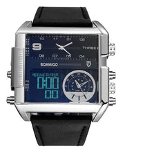 Load image into Gallery viewer, Dual-Display Square Modern Sport Leather Watch Silver Black