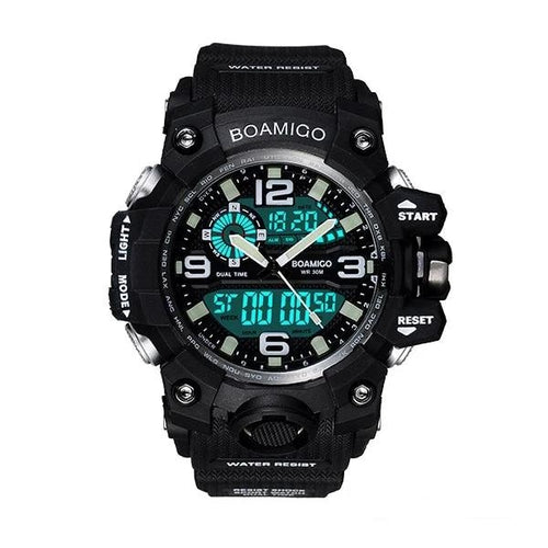 Dual-Display Waterproof Sport Chronograph With Alarm Black