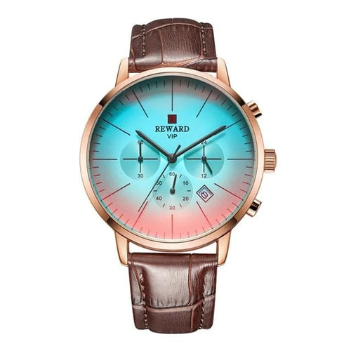 Fashion Gradient Glass Leather Watch For Men Brown