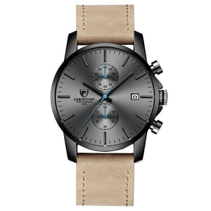 Fashion Rugged Leather Chronograph For Men Gray