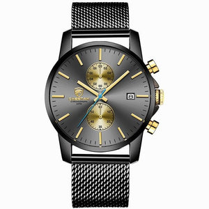 Fashion Rugged Leather Chronograph For Men Stainless Gold Black