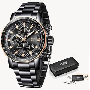 Fashion Stainless Steel Chronograph With Back-Light Black Rose Gold
