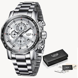Fashion Stainless Steel Chronograph With Back-Light Silver White