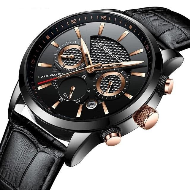 Leather Chronograph For Men Black Gold