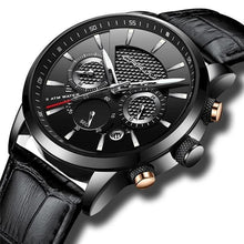 Load image into Gallery viewer, Leather Chronograph For Men Black Silver