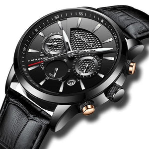 Leather Chronograph For Men Black Silver