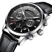 Load image into Gallery viewer, Leather Chronograph For Men Silver Black