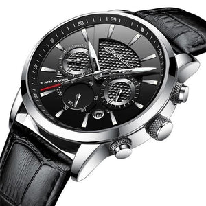 Leather Chronograph For Men Silver Black
