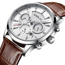 Load image into Gallery viewer, Leather Chronograph For Men Silver White