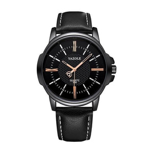 Mens Quartz Businessman Slim Leather Watch Black