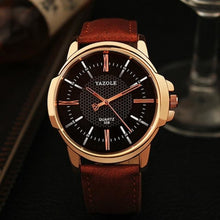 Load image into Gallery viewer, Mens Quartz Businessman Slim Leather Watch Brown Black