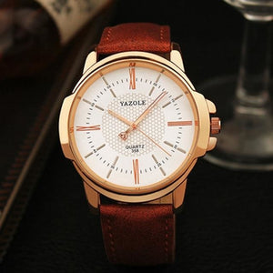 Mens Quartz Businessman Slim Leather Watch Brown White