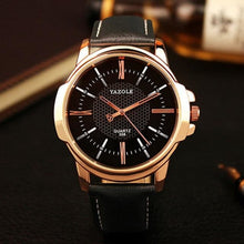 Load image into Gallery viewer, Mens Quartz Businessman Slim Leather Watch Gold Black