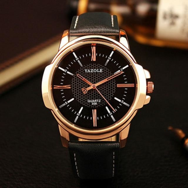 Mens Quartz Businessman Slim Leather Watch Gold Black