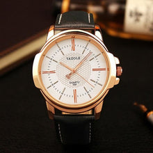 Load image into Gallery viewer, Mens Quartz Businessman Slim Leather Watch Gold White