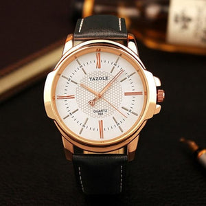 Mens Quartz Businessman Slim Leather Watch Gold White